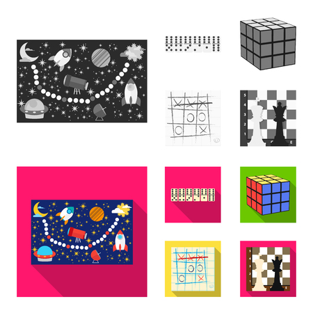 Board game monochrome,flat icons in set collection for design. Game and entertainment bitmap symbol stock web illustration. Stok Fotoğraf