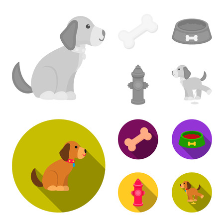 A bone, a fire hydrant, a bowl of food, a pissing dog.Dog set collection icons in monochrome,flat style bitmap symbol stock illustration web. Stock Photo