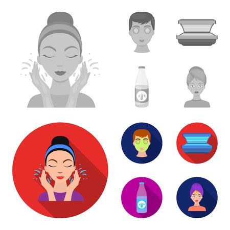 Face mask, solarium, bottle ts lasenom, pimples on face. Skin Care set collection icons in monochrome,flat style bitmap symbol stock illustration web.
