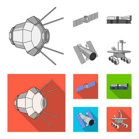 The space station in orbit, the preparation of the launch rocket, the lunar rover on the surface. Space technology set collection icons in monochrome,flat style bitmap symbol stock illustration web.