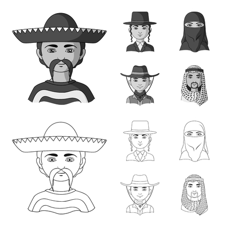 A mexican, a jew, a woman from the middle east, an american. The human race set collection icons in outline,monochrome style bitmap symbol stock illustration web.