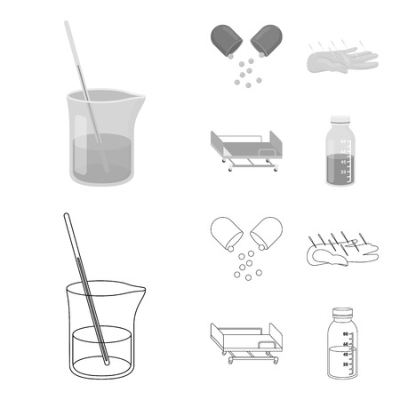 Solution, tablet, acupuncture, hospital gurney.Medicine set collection icons in outline,monochrome style bitmap symbol stock illustration web. Stock Photo