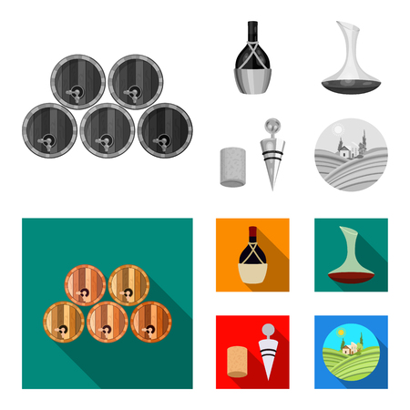 A bottle of wine in a basket, a gafine, a corkscrew with a cork, a grape valley. Wine production set collection icons in monochrome,flat style bitmap symbol stock illustration web. Foto de archivo - 111329708