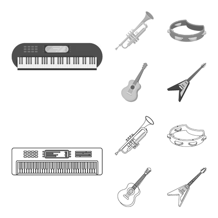 Electro organ, trumpet, tambourine, string guitar. Musical instruments set collection icons in outline,monochrome style bitmap symbol stock illustration web.