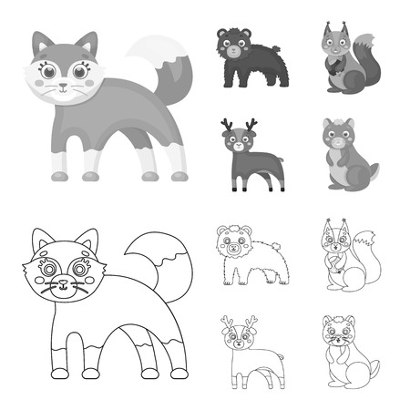 Zoo, nature, reserve and other web icon in outline,monochrome style.Artiodactyl, nature, ecology, icons in set collection. Stock Photo