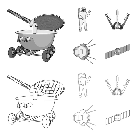 Lunokhod, space suit, rocket launch, artificial Earth satellite. Space technology set collection icons in outline,monochrome style bitmap symbol stock illustration web.