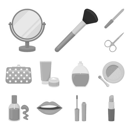Makeup and cosmetics monochrome icons in set collection for design. Makeup and equipment bitmap symbol stock web illustration. Imagens