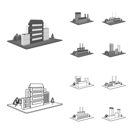 Processing factory,metallurgical plant. Factory and industry set collection icons in outline,monochrome style isometric bitmap symbol stock illustration web.