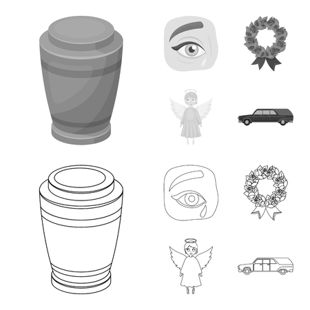 The urn with the ashes of the deceased, the tears of sorrow for the deceased at the funeral, the mourning wreath, the angel of death. Funeral ceremony set collection icons in outline,monochrome style bitmap symbol stock illustration web.