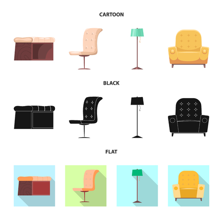 Vector illustration of furniture and apartment symbol. Collection of furniture and home vector icon for stock. Illustration