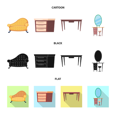 Vector illustration of furniture and apartment sign. Collection of furniture and home vector icon for stock.