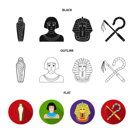 Crook and flail,a golden mask, an egyptian, a mummy in a tomb.Ancient Egypt set collection icons in black,flat,outline style bitmap symbol stock illustration web.