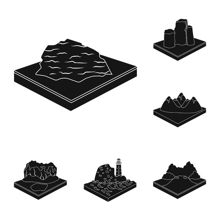 Mountains, massive black icons in set collection for design. The surface of the earth bitmap isometric symbol stock web illustration. Foto de archivo - 111444214