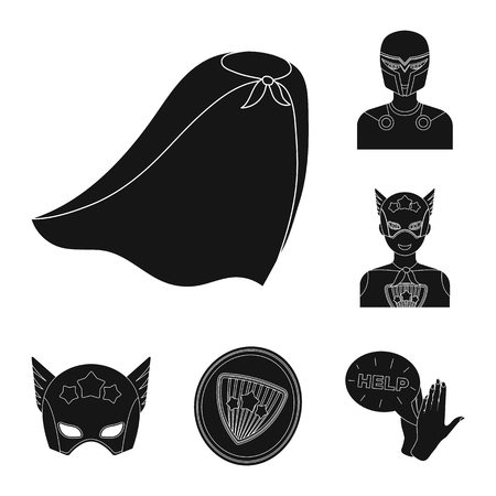 A fantastic superhero black icons in set collection for design. Superhero equipment bitmap symbol stock web illustration. Stock Illustration - 111444218