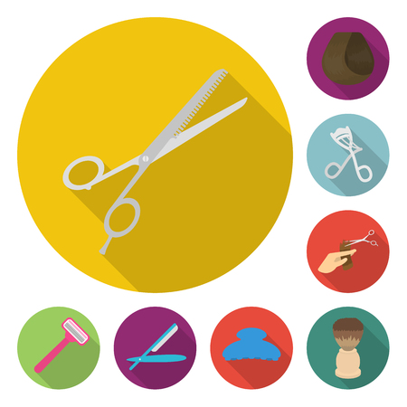 Hairdresser and tools flat icons in set collection for design.Profession hairdresser bitmap symbol stock web illustration. Stock Photo