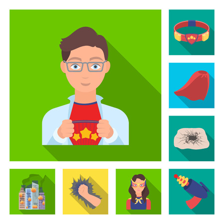 A fantastic superhero flat icons in set collection for design. Superhero equipment bitmap symbol stock web illustration.
