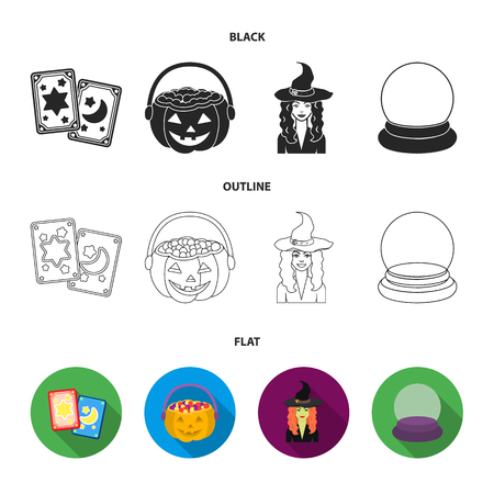 Tarot cards, holiday halloween, magician in a hat, crystal ball. Black and white magic set collection icons in black,flat,outline style bitmap symbol stock illustration web. Banco de Imagens