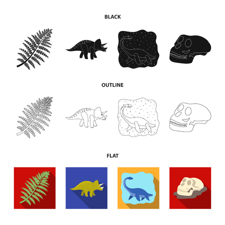 Sea dinosaur,triceratops, prehistoric plant, human skull. Dinosaur and prehistoric period set collection icons in black,flat,outline style bitmap symbol stock illustration web.