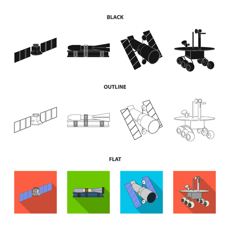 The space station in orbit, the preparation of the launch rocket, the lunar rover on the surface. Space technology set collection icons in black,flat,outline style bitmap symbol stock illustration web 写真素材