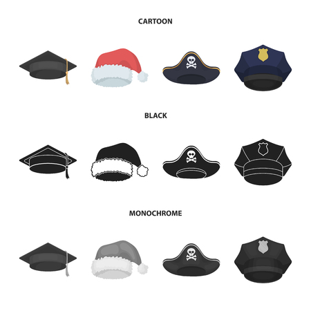 Graduate, santa, police, pirate. Hats set collection icons in cartoon,black,monochrome style bitmap symbol stock illustration web.