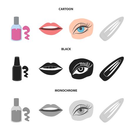 Nail polish, tinted eyelashes, lips with lipstick, hair clip.Makeup set collection icons in cartoon,black,monochrome style bitmap symbol stock illustration web. Stock fotó