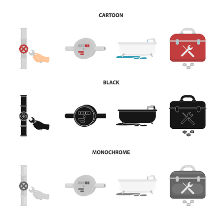 Water meter, bath and other equipment.Plumbing set collection icons in cartoon,black,monochrome style bitmap symbol stock illustration web.