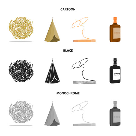 Roll-field, Indian wigwam, lasso, whiskey bottle. Wild West set collection icons in cartoon,black,monochrome style bitmap symbol stock illustration web.