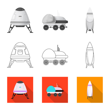 Vector illustration of mars and space. Collection of mars and planet stock vector illustration.