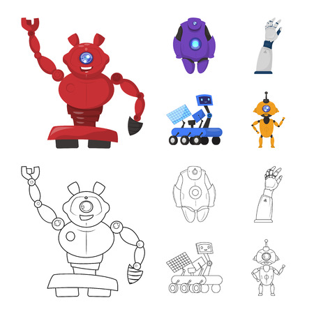 Vector illustration of robot and factory. Collection of robot and space stock symbol for web.