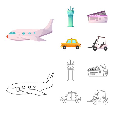 Vector design of airport and airplane icon. Collection of airport and plane stock symbol for web.