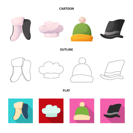Vector illustration of headgear and cap sign. Collection of headgear and headwear stock symbol for web.