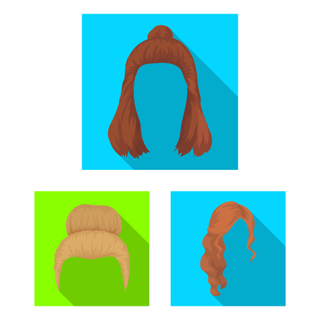 Female hairstyle flat icons in set collection for design. Stylish haircut bitmap symbol stock web illustration.