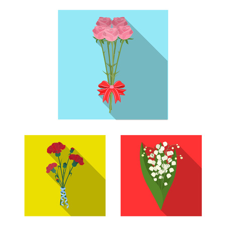 A bouquet of fresh flowers flat icons in set collection for design. Various bouquets bitmap symbol stock web illustration.