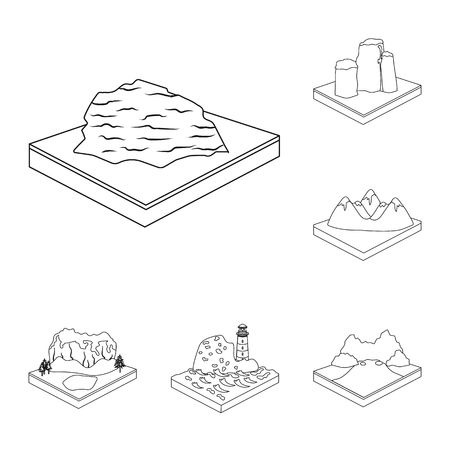 Mountains, massive outline icons in set collection for design. The surface of the earth bitmap isometric symbol stock web illustration. Foto de archivo - 111878113