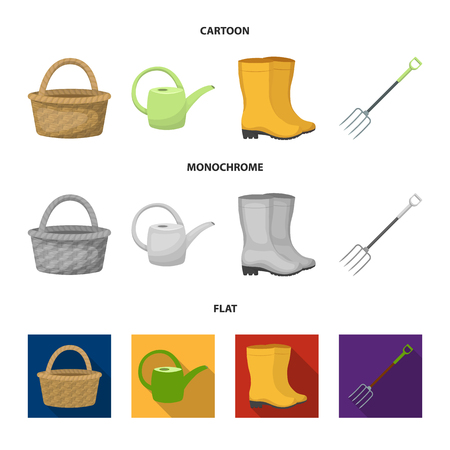 Basket wicker, watering can for irrigation, rubber boots, forks. Farm and gardening set collection icons in cartoon,flat,monochrome style bitmap symbol stock illustration web. Imagens