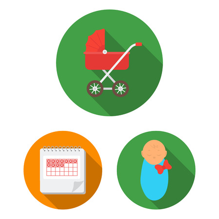 Woman and pregnancy flat icons in set collection for design. Gynecology and equipment bitmap symbol stock web illustration. Stock Photo