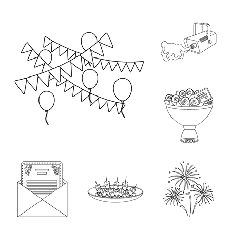 Event Organisation outline icons in set collection for design. Celebration and Attributes bitmap symbol stock web illustration.