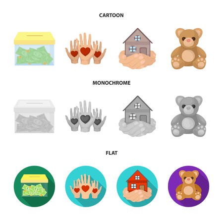 Charity and donation set collection icons in cartoon,flat and monochrome style bitmap symbol stock illustration web