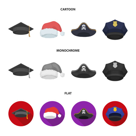 Graduate, santa, police, pirate. Hats set collection icons in cartoon,flat,monochrome style bitmap symbol stock illustration web.