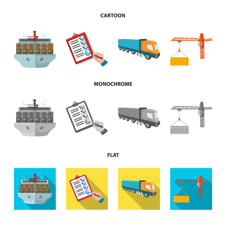 Sea freight, signature of delivery documents, truck, tower crane with a container. Logistics and delivery set collection icons in cartoon,flat,monochrome style isometric bitmap symbol stock illustration web. Stock Photo