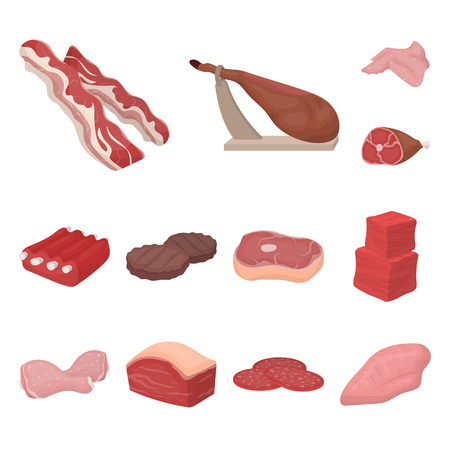Different meat cartoon icons in set collection for design. Meat product bitmap symbol stock web illustration.
