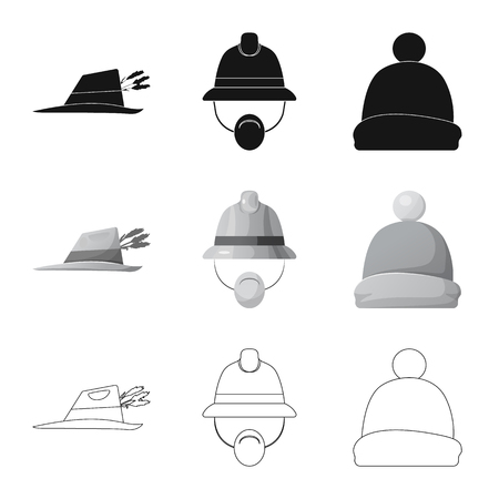 Isolated object of headgear and cap sign. Set of headgear and headwear stock symbol for web. Illustration