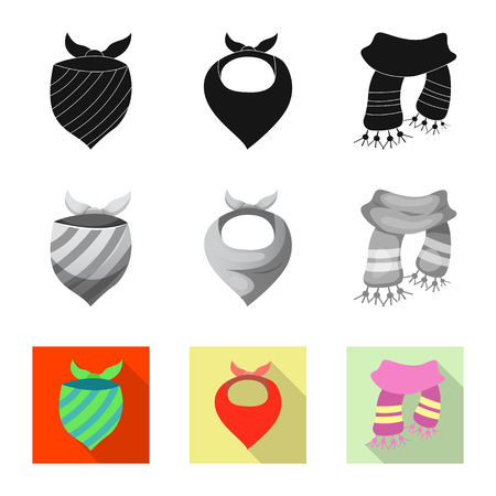 Isolated object of scarf and shawl sign. Set of scarf and accessory vector icon for stock.