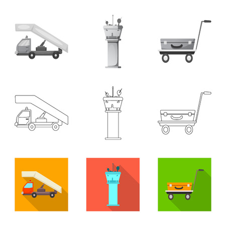 Isolated object of airport and airplane sign. Set of airport and plane stock symbol for web. Иллюстрация