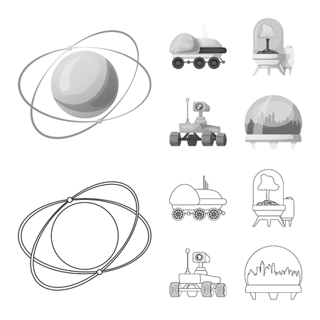 Isolated object of mars and space sign. Collection of mars and planet vector icon for stock. Illustration