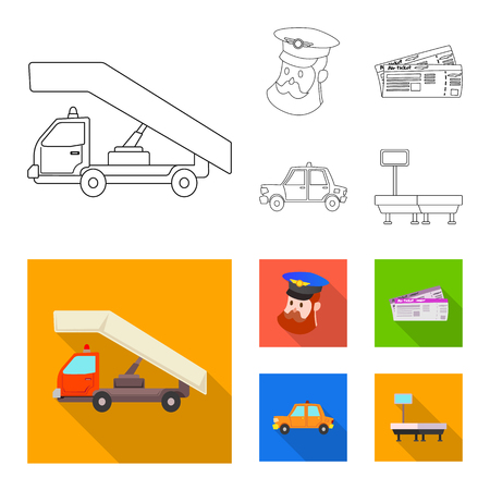 Vector design of airport and airplane symbol. Set of airport and plane stock symbol for web.