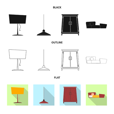Vector design of furniture and apartment sign. Collection of furniture and home stock symbol for web. Ilustração
