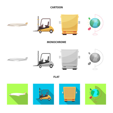 Vector design of goods and cargo icon. Set of goods and warehouse stock symbol for web. Çizim