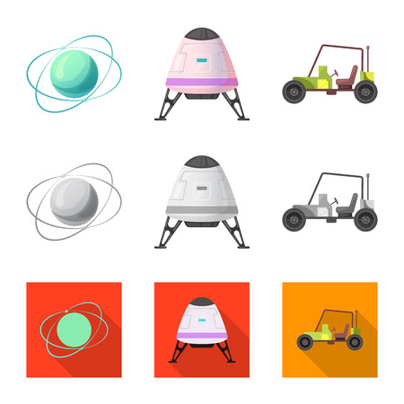 Isolated object of mars and space logo. Set of mars and planet vector icon for stock.