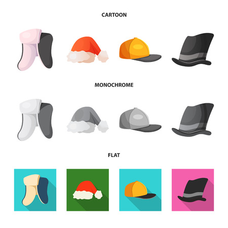 Vector illustration of headgear and cap symbol. Collection of headgear and headwear vector icon for stock.